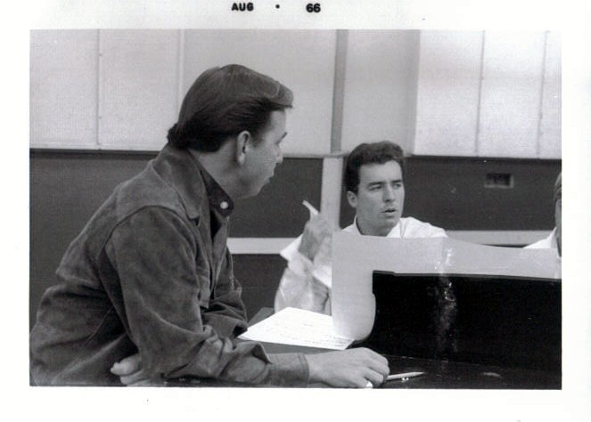 Recording session for Warner Bro's in Hollywood. Manager Gene Nash and me.